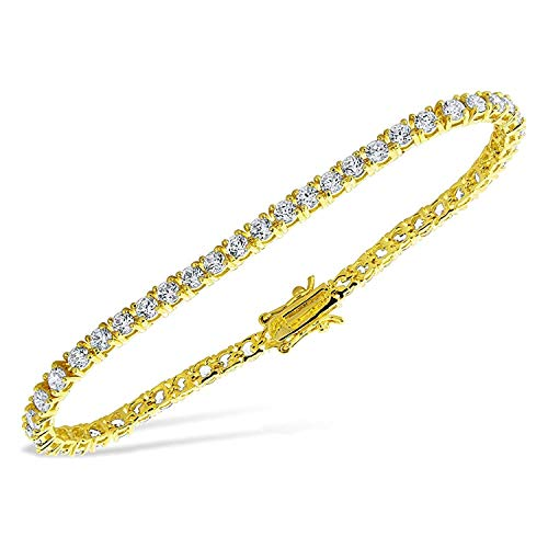 Jawa Fashion 3.2 Carat Simulated Diamond 14 K Yellow Gold Finish Tennis Bracelet 7 7.5 8 inch (8) ()
