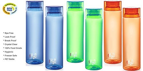 ELLO H2O Water Bottle - Set of 6 Bottles - Unbreakable BPA FREE - 100% Food Grade - 1000ml Capacity / 33 oz - Air Tight Seal (Love Trek Water Bottle)