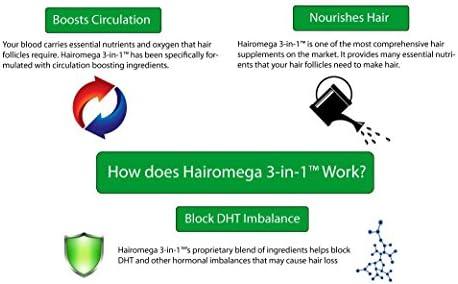DrFormulas HairOmega 3-in-1 Hair Growth Vitamins with DHT Blocker, Biotin for Women & Men | Hair Skin and Nails Supplement for Hair Loss, 120 Pills