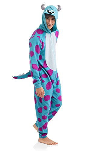 Disney Pixar Sulley Men's Onesie Union Suit (Small, Sulley Blue) -