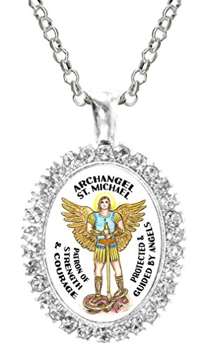 (St Michael Archangel of Strength & Courage Cz Crystal Silver Necklace Pendant)
