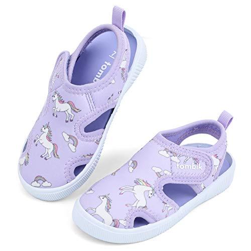 tombik Toddler Water Sandals Girls Summer Beach Shoes for Water Park, Pool, Swim Purple/Unicorn 9 US Toddler