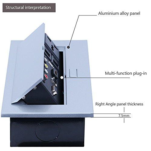 E-best Multimedia Pop up Desktop Power Office Hidden Desktop Socket Multi Outlet with HDMI /VGA /AV / Audio / Universal Power Socket / USB2.0 / 2 Network / 6.35 Mic Interface by Ebest (Image #3)