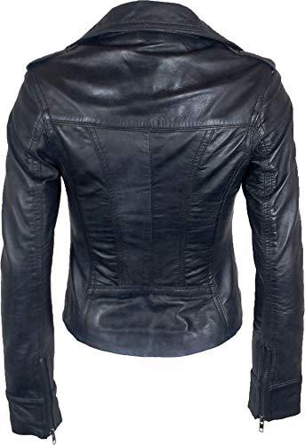 UNICORN Femmes Réel en cuir Veste Noir Ciré #Z6