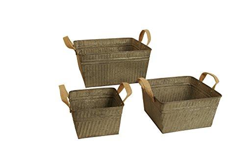 Wald Imports Rustic Gray Metal Rustic Square Beverage Tub Assortment W/Burlap Handles, Set of 3