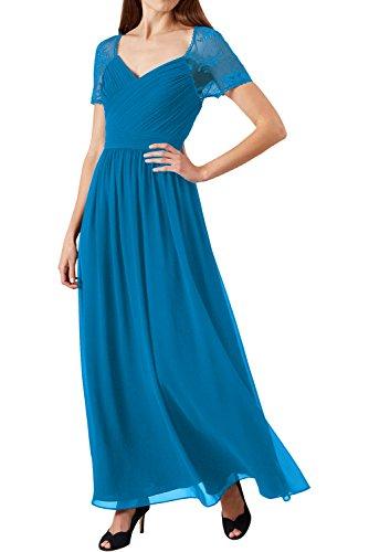 Chiffon Spitze Abendkleider Lang Ivydressing 2017 Kurzarm Grape Blau Festkleid Neu Damen Partykleider nTx7UwqfY