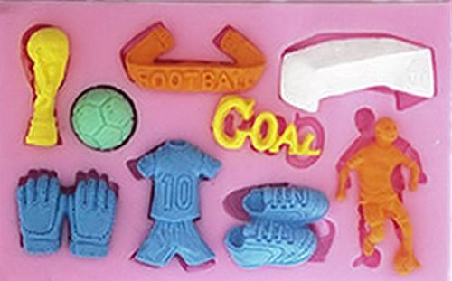 Soccer Football 9 Cav. Silicone Mold for Gum Paste, Fondant, Chocolate, Crafts