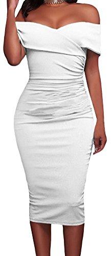 YeeATZ Women White Ruched Off Shoulder Bodycon Midi (Trina Pencil Holder)
