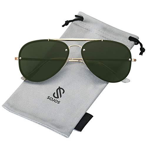 SOJOS Rimless Aviator Sunglasses for Men and Women Metal Frame Mirrored Lens TRENDALERT SJ1105 with Gold Frame/G15 ()