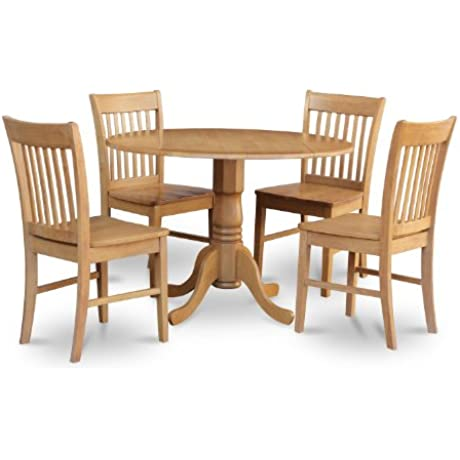East West Furniture DLNO5 OAK W 5 Piece Kitchen Table Set Oak Finish