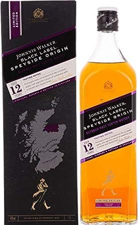 Johnnie Walker Black Label Speyside Origin Blended Scotch Whisky en Edición Limitada, 1000 ml
