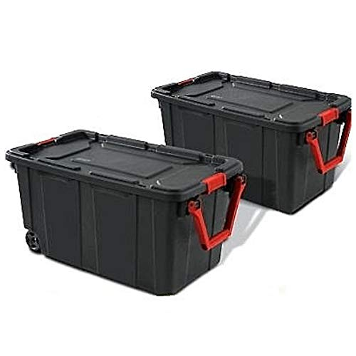 Rolling Storage Bin with Handle 40 gal Box Set of 2 Portable Container Latching Lid Heavy Duty Durable Organizer Mudroom Garage Workshop Laundry Easy Mobility & eBook by BADAshop