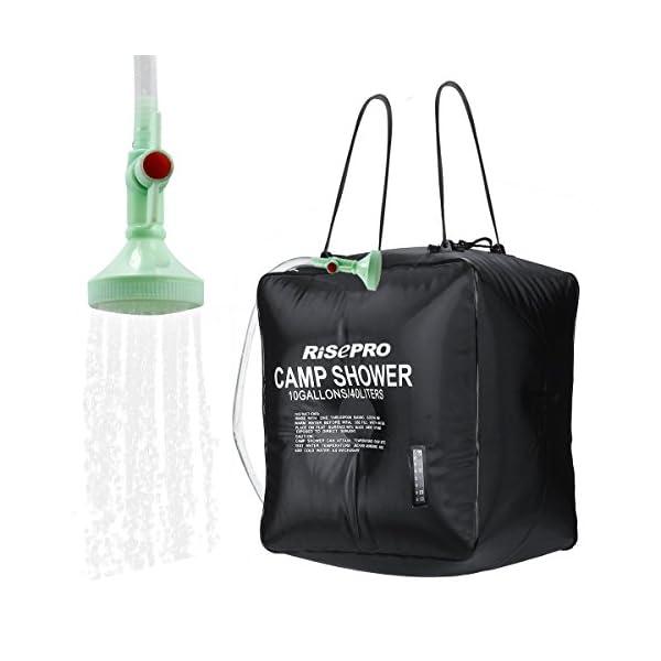 Risepro® XH07 Doccia solare, serbatoio a borsa da 40 litri, da campeggio, a riscaldamento solare con acqua a temperatura… 1 spesavip