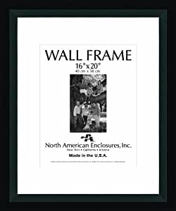 North American Enclosures 9172-1620 Single Mat Picture Display Frame, Black, 16 by 20-Inch
