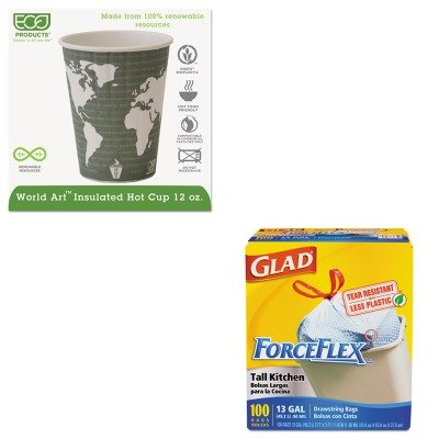 KITCOX70427ECOEPBNHC12WD - Value Kit - ECO-PRODUCTS,INC. World Art Insulated Compostable Hot Cups (ECOEPBNHC12WD) and Glad ForceFlex Tall-Kitchen Drawstring Bags (COX70427)