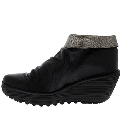 FLY London Womens Yoxi Casual Mousse Leather Black Wedge Heel Ankle Boot Black/Silver ZZb25syELW