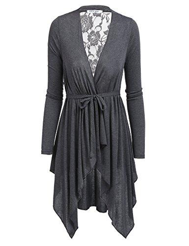 Women's Lightweight Lace Trimmed Open Cardigan Sweater (Gray/S)