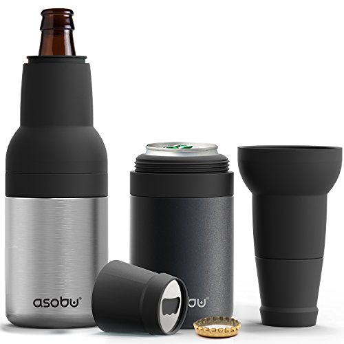 Asobu Frosty Beer 2 Go Vacuum Insulated Double Walled Stainless Steel Beer Bottle and Can Cooler with Beer Opener Eco Friendly and Bpa Free (Silver)