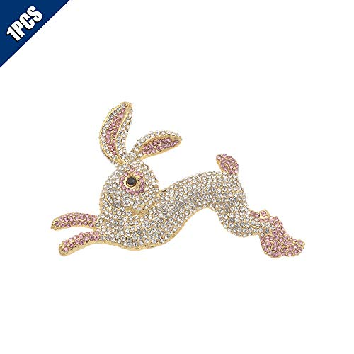 KOOBOOK 1Pcs Fashion Pretty Crystal Rhinestone Pink Animal Rabbit Runing Bunny Brooch Pin Cute Schoolbag Micro Cap Top Lapel Badge