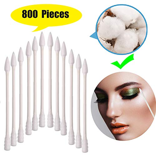 - 800 Pieces Cotton Swabs, Double Tipped Precision Tips Cotton Buds Spiral Head Multipurpose Safe Highly Absorbent Hygienic Cleaning Sterile Sticks (4 Packs, 200 Pcs, 1 Pack)