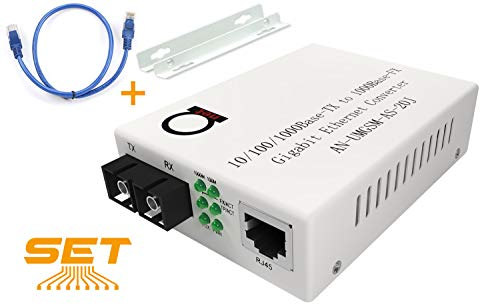Single Mode Gigabit Fiber Media Converter - Built-In Fiber Module 20 km (12.42 miles) SC - to UTP Cat5e Cat6 10/100/1000 RJ-45 - Auto Sensing Gigabit or Fast Ethernet Speed - Jumbo Frame - LLF Support