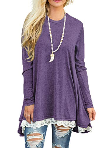 - Sanifer Women Lace Long Sleeve Tunic Top Blouse (Large, Purple)