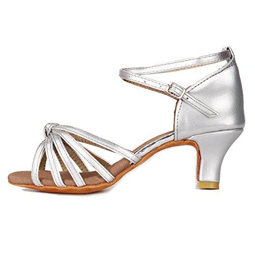 Roymall Women's Satin Latin Dance Shoes Model 217 5cm Silver