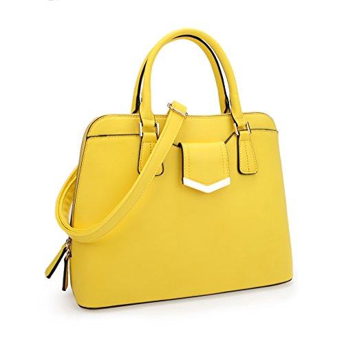 Dasein Women's Fashion Designer Zip Around Top-Handle Dome Satchel Handbag Purse Medium Yellow