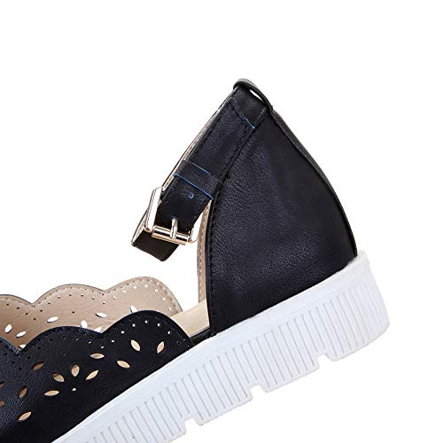 Femme Compensées Sandales Noir SLC04360 AdeeSu x6wFqPtCt