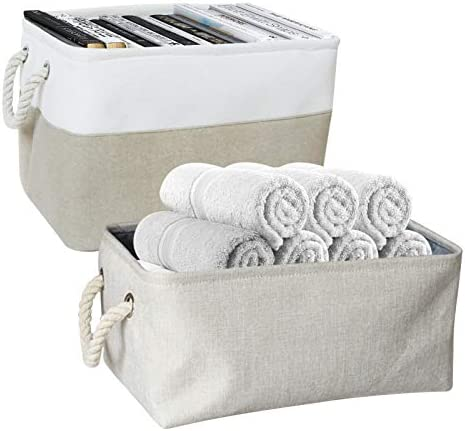 2 Pack Fabric Storage Bins Organizer with Cotton Rope Handles, Storage Basket for Clothes Books Toys, Different Sizes and Colors