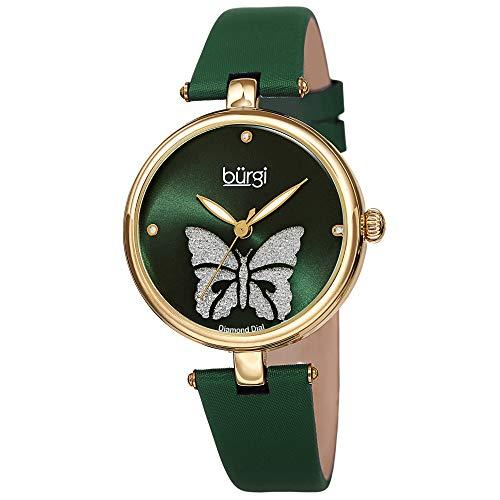 Burgi Designer Women's Watch - Pretty Butterfly Glitter Dial, Satin Over Genuine Leather Green Strap, 3 Diamond Markers, Polished Bezel - BUR233GN