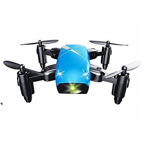Folding Quadcopter 2.4GH Helicopter Drone Mini 4 Channel Hover 3D Flips Drone with Remote Control_Blue