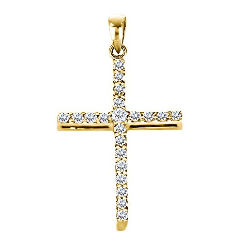 (14k Yellow Gold 14k Yellow Gold Classic Designed Cross Pendant and Matching Chain set with Forever Brilliant Created Moissanite by Charles & Colvard with Forever Brilliant Moissanite by Charles Colvard (0.12 ct. twt.))
