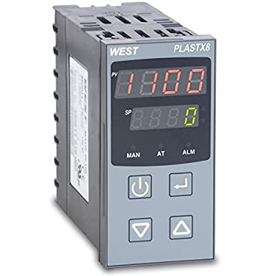 West PLX821110020 PlastX8 1/8 DIN Temperature Controller for Plastic Extrusion, 100 to 240 VAC, 3 Relay Outputs