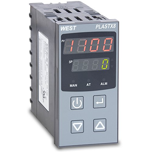 West PLX822110020 PlastX8 1/8 DIN Temperature Controller for Plastic Extrusion, 100 to 240 VAC, 1 SSR Driver and 2 Relay (0.125 Din Pid Controller)