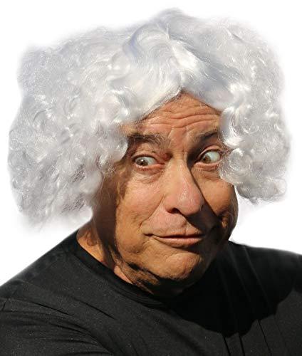 Doc Brown Wig Mad Scientist Einstein Mark Twain Curly White Wig for Men and Women