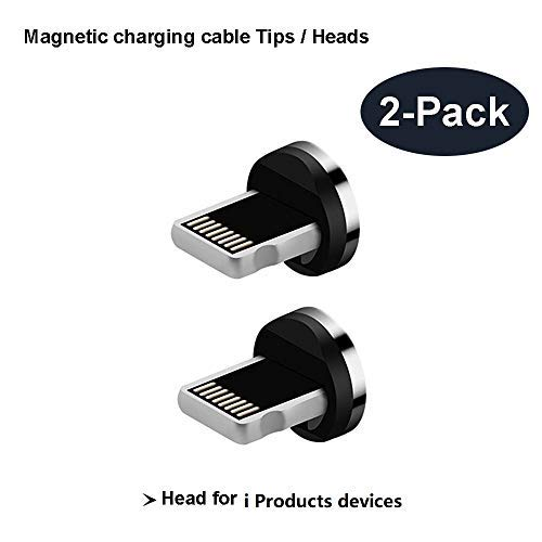 Magnetic Phone Cable Adapter Connector Tips Head for i Products Phone Pad Tablet Devices,Compatible for i-Product X,Xs,Max,8, 8 Plus,7, 7 Plus 6, 6 Plus, 6s, 6s Plus, 5, 5c, 5s. (i Product Connector)