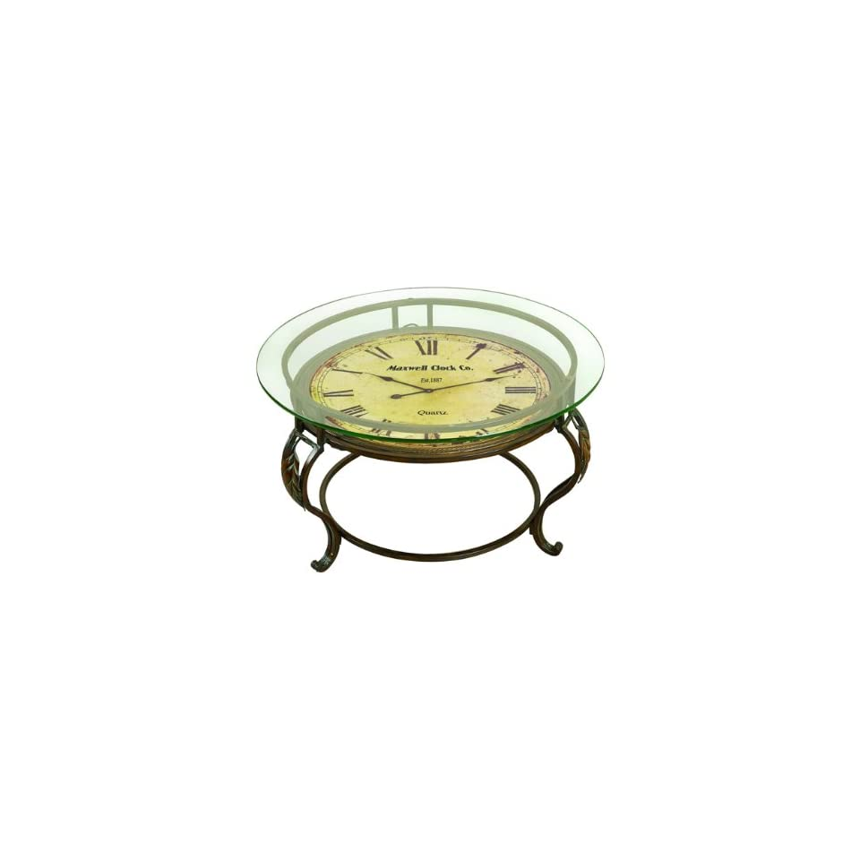 Classic Antique Reproduction Round Glass & Metal Clock Table   MSRP $400   Coffee Tables
