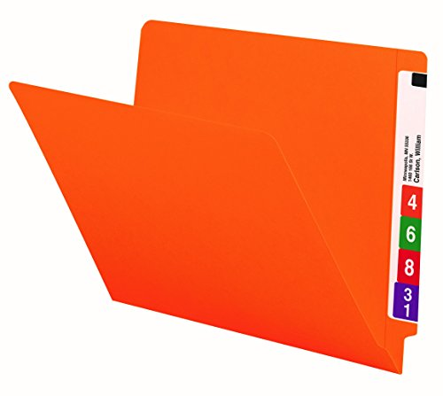Smead End Tab File Folder, Shelf-Master Reinforced Straight-Cut Tab, Letter Size, Orange, 100 per Box (25510) (Filing Shelf Tab)