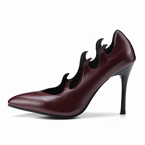 Mee Shoes Damen Stiletto Spitz ohne Verschluss Pumps Weinrot