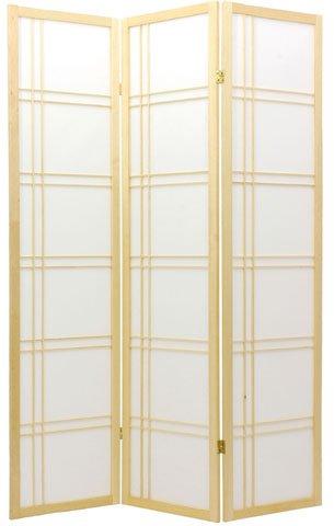 Oriental Furniture 6 ft. Tall Double Cross Shoji Screen - Natural - 3 Panels