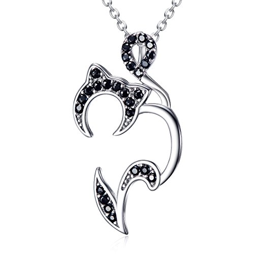 Angel caller Lucky Fashion Jewelry Real 925 Sterling Silver Two-Tone Heart Pet Cat Necklace Charms Gift (Cat ()