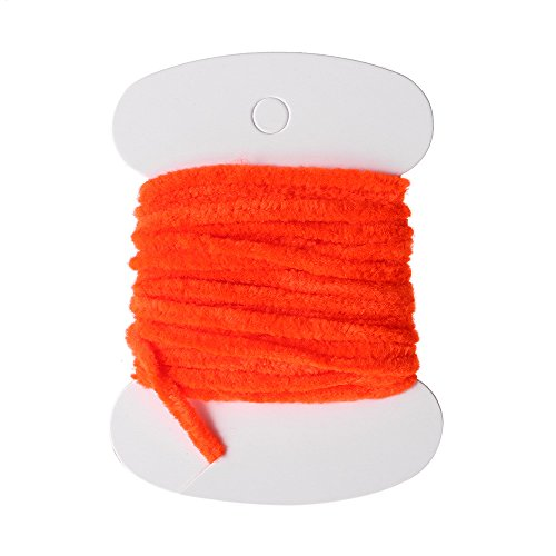1 Card Nylon Fishing Flies Tying Body Material Fly Tying Tinsel Chenille for Woolly Bugger Worms Rayon Chenille Yarn Fly Fishing Orange
