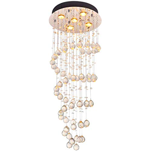 Modern Clear Crystal Round Raindrop Chandelier Lighting Flush Mount LED Ceiling Light Fixture Lamp Livingroom Dinning Room Bedroom Entryway Hallway 5 GU10 Bulbs Required H 39 in X D 16 in