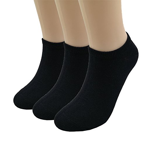 Prefer Green Women's Casual Ankle Socks 3-6 Pairs No Show Socks Low Cut Cotton Socks (Black_3 Pairs) Black 3 Pair Pack