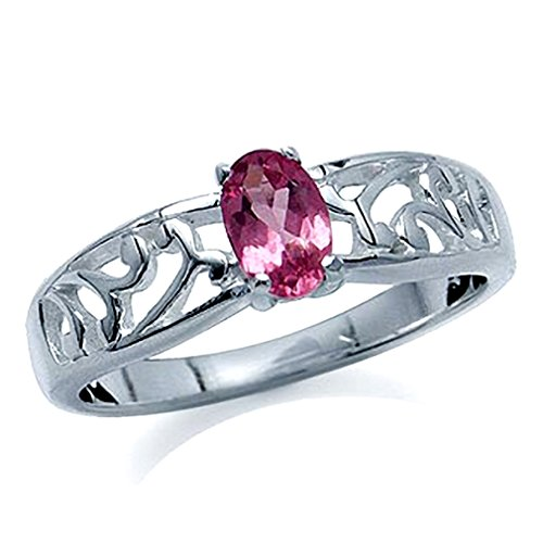 (Natural Pink Tourmaline 925 Sterling Silver Filigree Solitaire Ring Size 6)