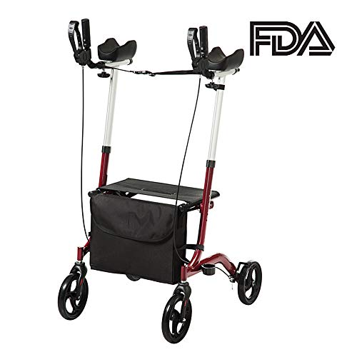 ELENKER Euro Style Upright Walker Folding Rollator Walker Red