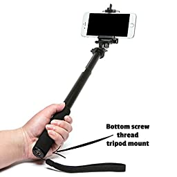 PRORIES Monopod Selfie Stick for GoPro, Smartphone, Camera - Best Lightweight Rugged Waterproof Extension Pole 12-39 Inch. - Tripod Mount - Bonuses: Carrying Bag, Phone Holder