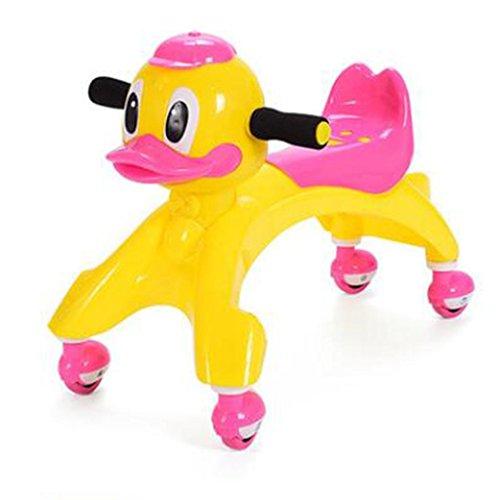 (YANQI GOUGOU Children's Little Duck music wheel twist and twist trolley Walker slip car,)