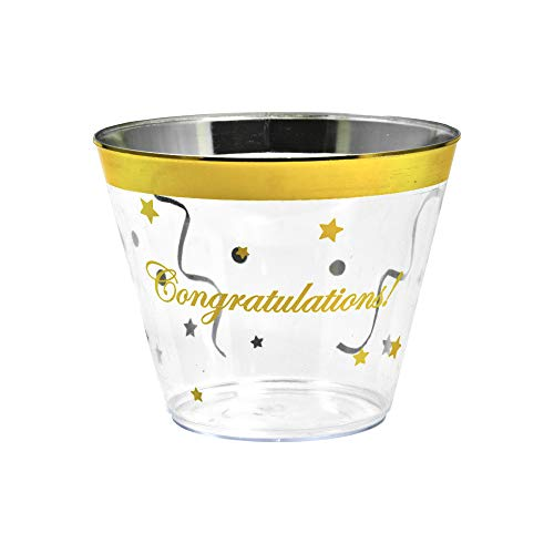 Gold Rimmed Disposable Plastic Cups - Elegant Congratulations! Confetti design - Tumblers for Weddings, Holidays, Birthdays and More - 100 Crystal Clear Old Fashioned Glasses for Wine & Cocktails -